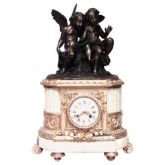 French Louis XVI Style Bronze Dore and Marble Mantel Clock