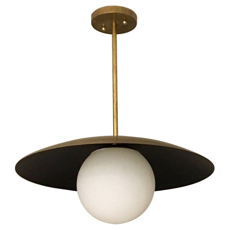 Large Diameter Sasco Pendant in Solid Brass with Matte Milk Glass Globe For Sale