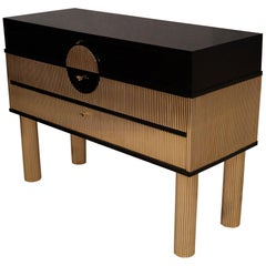 Midcentury Black Shellac and Semi Round Brass Rods Chests of Drawers, 1970