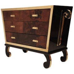 Midcentury Goatskin and Brass Italian Chests of Drawers, 1950