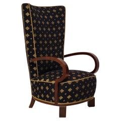 Midcentury Velvet and Beechwood Italian Armchair, 1940