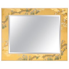 Large Églomisé Gold Bevelled Mirror with Asian Design by La Barge