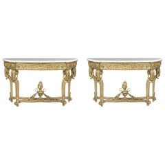 A Pair of French Louis XV Manner Console Tables