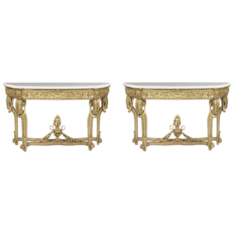 Pair of 19th Century Giltwood Console Tables For Sale