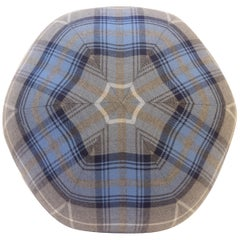 Blue Tartan Plaid Ball Throw Pillow