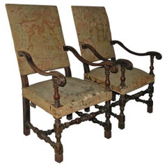 Pair of French 17th Century Louis XIV Walnut Armchairs