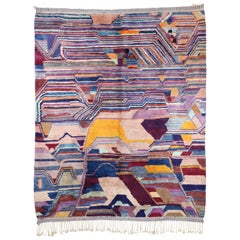Contemporary Berber Moroccan Rug with Postmodern Memphis Bauhaus Cubism Style