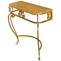 Gilt Iron Wall-Mounted Console with Marble Top
