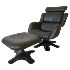 Yrjo Kukkapuro Organic Karuselli Leather Lounge Chair with Ottoman, Finland