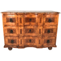 18th Century Austrian Baroque Burled Walnut Marquetry Commode