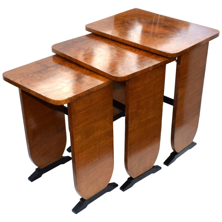 Art Deco 1930s Set of Three Nest of Tables For Sale