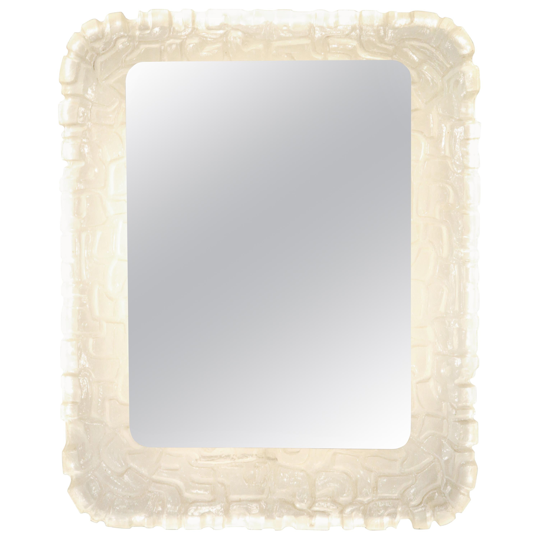 Illuminated Rectangular Mirror with Molded Resin Scalloped Frame