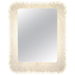 Illuminated Rectangular Mirror with Molded Resin Scalloped Frame