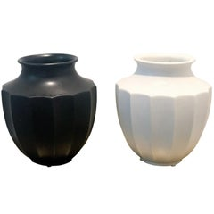 Pair of Midcentury Ceramic Black and White Urns