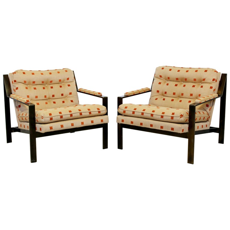 Mid-Century Modern Cy Mann Pair of Bronze Lounge Armchairs 1970s Baughman Style For Sale