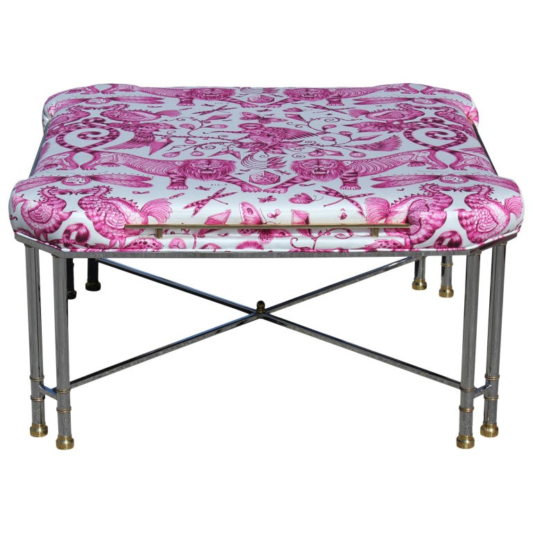 Custom Modern Pink and White Animalia Chrome and Brass French Bench or Ottoman For Sale