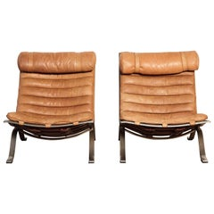 Pair of Arne Norell Tan Leather Ari Chairs, Norell Mobler, Sweden, 1970s