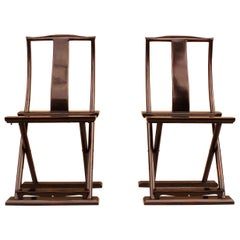 Pair of Black Lacquer Folding Chairs