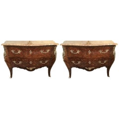 Pair of Louis XV Style Bombe Bronze Mounted Commodes with Rouge Marble Tops