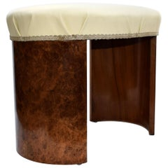 Art Deco Oval Shaped Stool in Figured Walnut, circa 1930