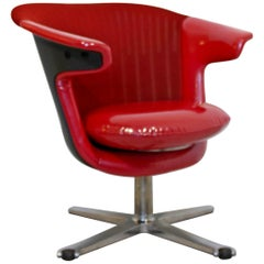 Contemporary Modern Steelcase i2i Ergonomic Swivel Office Armchair Red Vinyl
