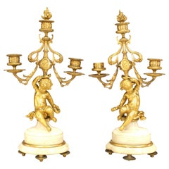 Pair of French Victorian Cupid Bronze Dore Candelabra