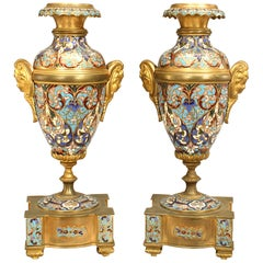 Pair of French Victorian Enamel and Gilt Bronze Urns