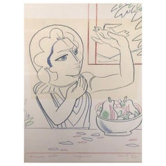 Enhanced Lithograph / Original Drawing of Paloma Picasso by Francoise Gilot