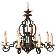 Early 20th Century French Louis XV Verdigris & Gilt Iron Eight-Light Chandelier