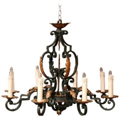 Early 20th Century French Louis XV Verdigris & Gilt Eight-Light Iron Chandelier