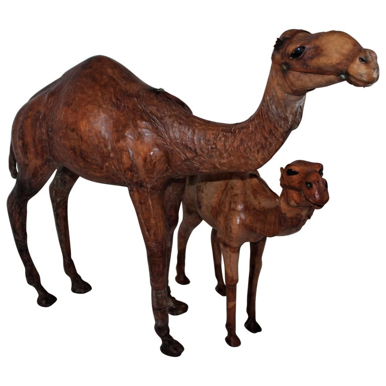 Pair of Leather Camels For Sale
