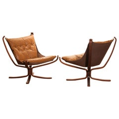 Set of Camel Leather 'Falcon' Lounge Chairs or Easy Chairs by Sigurd Ressell