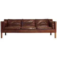 Original Borge Mogensen 2213 Sofa in Patinated Leather, Denmark, 1960s-1970s
