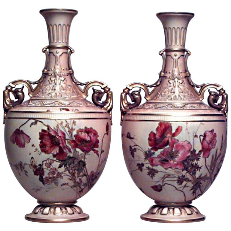 Pair of English Victorian Royal Worcester Porcelain Vases