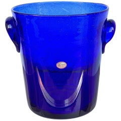 Ice Bucket in Blue Glass with Bubbles, La Verrerie De Biot, France, 1980s