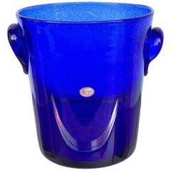 Ice Bucket in Blue Glass with Bubbles, La Verrerie De Biot, France, 1980s