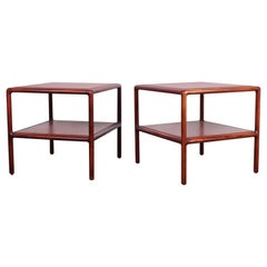 Pair of Oak and Leather Tables by Ward Bennett