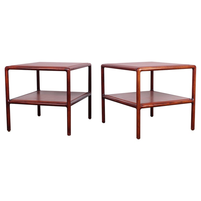 Pair of Oak and Leather Tables by Ward Bennett For Sale