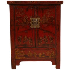 Red Lacquer Chest with Gilt Motif Design