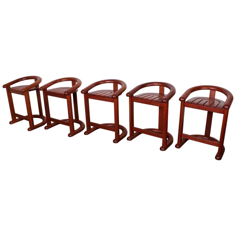 Set of Five Barstools For Sale