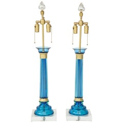 Marbro Caribbean Blue Murano Glass Lamps