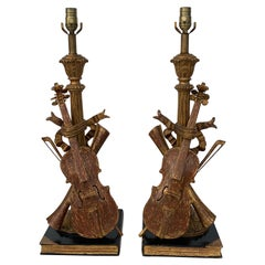 Pair of Violin Gold Leaf Lamps