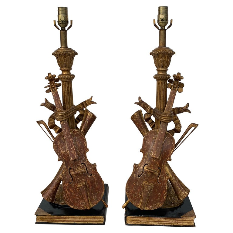 Pair of Violin Gold Leaf Lamps For Sale