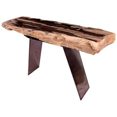 Console Table, Petrified Wood with Metal Base