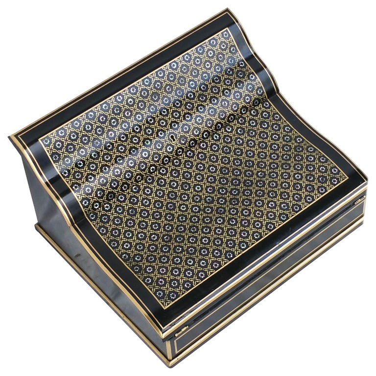 Napoleon III Boulle Writing Cabinet Box, France, 1870 For Sale