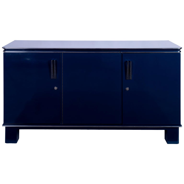 Stunning 1940s French Art Deco Sideboard in Metallic Cobalt For Sale
