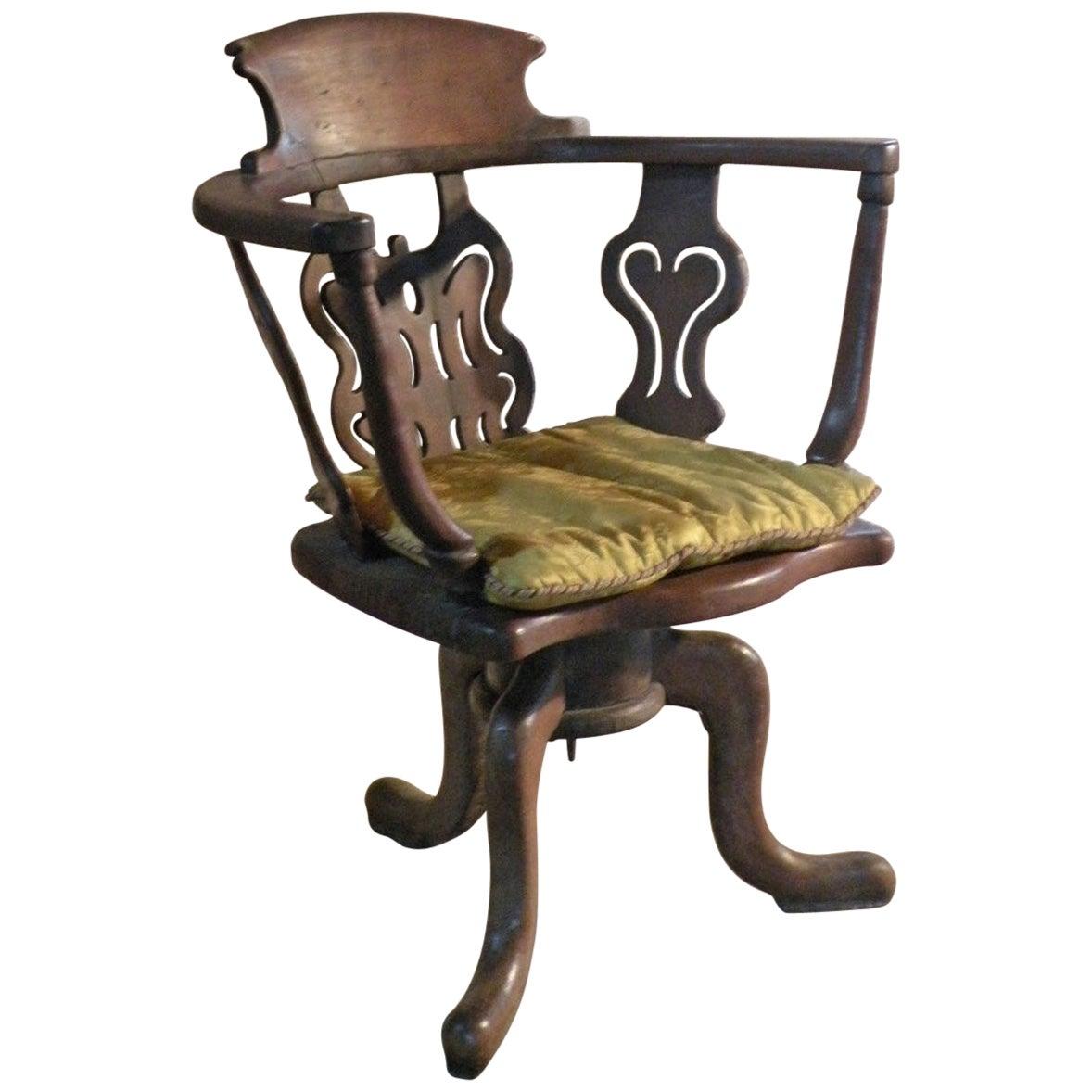 Italian Late Baroque 18th Century Walnut Swivel or Desk Chair of Rare Form