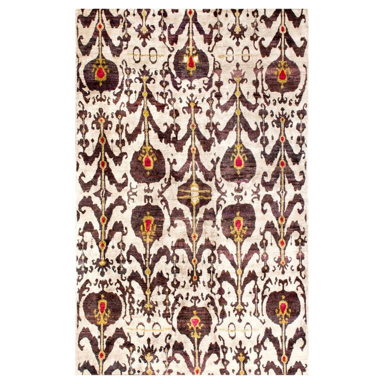 Silver Grey Plum Ikat Silk Hand-knotted Rug in Stock For Sale