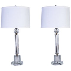 Luxe Pair of 1940s Stacked Crystal Table Lamps