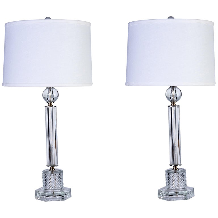 Luxe Pair Of 1940s Stacked Crystal Table Lamps For Sale At 1stdibs